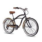 CHRISSON 26Pulgadas Aluminio showbike Hombre Bicicleta Sando con 6velocidades Shimano TX Negro Oro