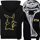 Xcoser Winter Kapuzen pullover Pikachu Jacke Anime Cosplay Kostüm Pulli Dick Hoodie Sweatshirt Warm Mantel für Herren Kleidung