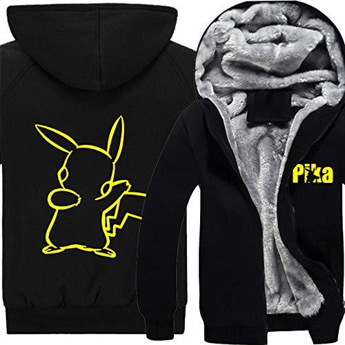 Xcoser Winter Kapuzen pullover Pikachu Jacke Anime Cosplay Kostüm Pulli Dick Hoodie Sweatshirt Warm Mantel für Herren ()