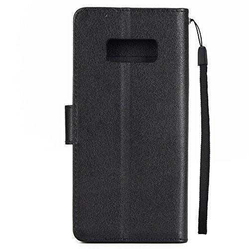 Klassische Premiu PU Ledertasche, Horizontale Flip Stand Case Cover mit Cash & Card Slots & Lanyard & Soft TPU Interio Rückseite für Samsung Galaxy S8 ( Color : White ) Black