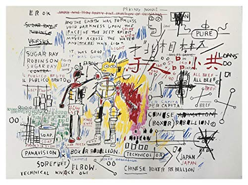 JH Lacrocon Gemälde Handgemalt Boxeraufstand 1982 von Jean-Michel Basquiat - 120X90 cm Graffiti Leinwand Bilder Gerollte Reproduktionen Kunst Poster - Michel Basquiat Kunst Jean