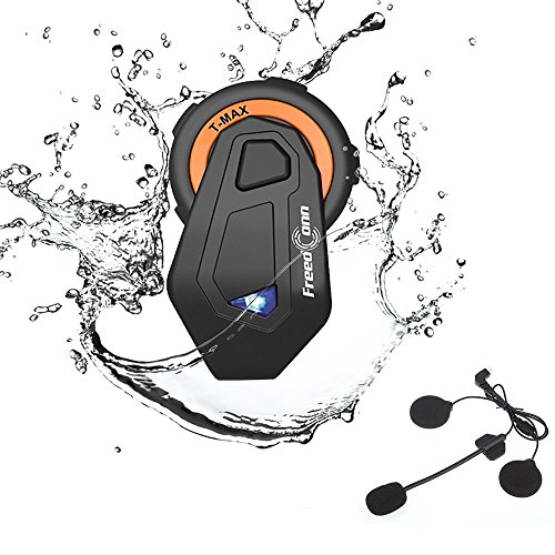 FreedConn Motorrad Headsets, Bluetooth Helm Intercom Vollduplex Sprechanlage Walkie Talkie 6 Fahrer Gruppe Intercom Communicator Headset 1000M|FM Radio|Voice Prompt (1 Pack) Bluetooth Communicator