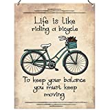 Wandschild aus Metall mit der Aufschrift »Life Is Like Riding a Bicycle To Keep Your Balance You Must Keep Moving«, Retrodekoration 15 cm x 20 cm