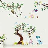 Tier Elefant Eule Affe Giraffe Baum Wandtattoo Wandaufkleber Wandsticker Kinderzimmer Baby Geschenk