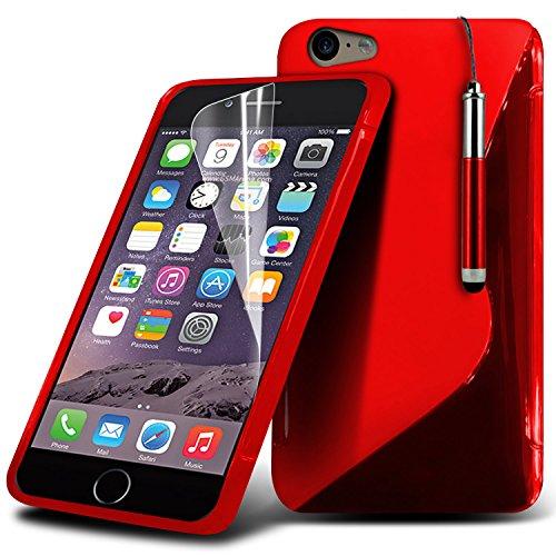 i-Tronixs High Quality Designed Premium-PU-Leder Geldbörse Book Flip Mit 3 Kredit / Bankkarte Slot-Kasten-Haut-Abdeckung mit LCD-Display Schutzfolie und Poliertuch für Apple Iphone 6 4.7 inch WGEL Red + Pen