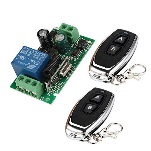 YLX Universal 433 MHz AC 110V 220V Kanal Fernsteuerungsschalter Mini Wireless Relais Empfängermodul und Fernsteuerungsschalter für 433 MHz RF Transmitter Garage (2+1) Rf-handsender