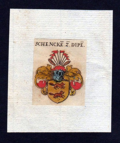 17. Jh Schenk zu Dipen Wappen coat of arms heraldry Heraldik Kupferstich