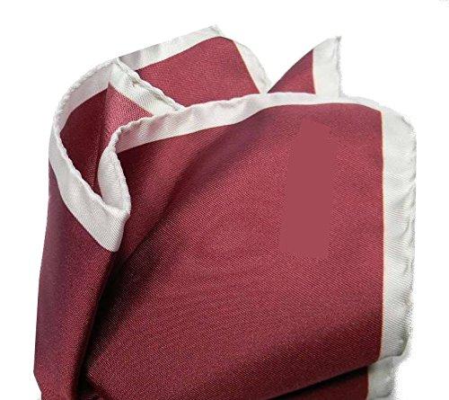 Avantgarde - Pochette Uomo Seta Fazzoletto da Taschino Bordeaux Bordo in Contrasto Grigio, Colore: Rosso Bordeaux