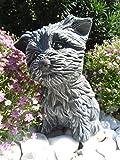 Steinfigur Hund, Gartenfigur Steinguss Tierfigur Basaltgrau