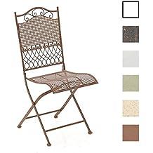 CLP Silla de terraza plegable KIRAN en hierro forjado, silla de exterior, estilo nostálgico, muebles de jardín marrón antiguo