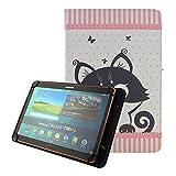 Universel Coque Etui Housse pour Tablette Yuntab V101H/K03/K107 10.1',Artizlee ATL-21/Plus 10'' Tablette,Alldaymall Tablette tactile 10 pouces,Chuwi Hi10 10 ',Tablette Dragon Touch X10 10',Tablette Logicom L-ement 1043 BTK 10.1 pouce,BEISTA 10.1',Thomson TEO-QD10BK8E 10', Samsung/Acer/Lenovo/Asus 10.1' Flip Case Cover Pochette-Chat