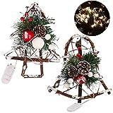 Fascigirl Christmas Pine Corn Rattan DIY Artesanías de Madera Decoraciones de Led para la Ventana de la Puerta con Campana de Viento Treetop