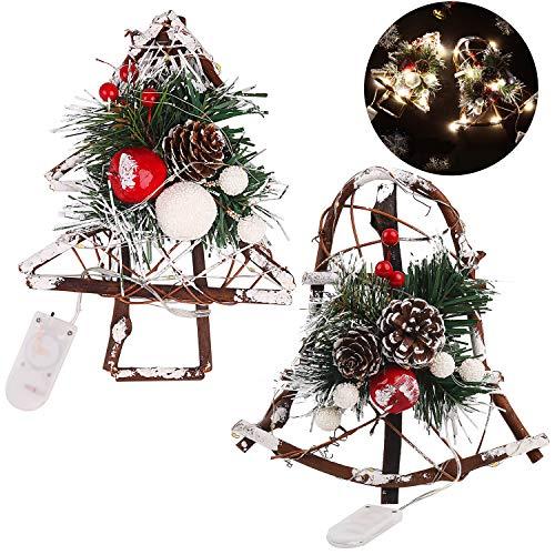 Fascigirl Weihnachten Kiefern Mais Rattan DIY Hölzernes Handwerk Führte Dekorationen für Tür-Fenster mit Wind Chimes Treetop