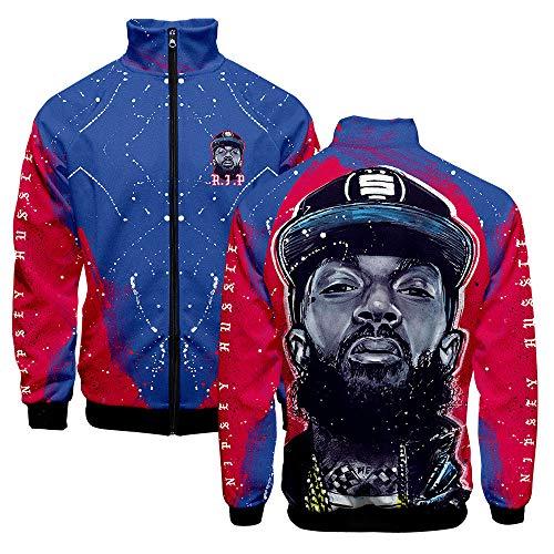 Fang Mode Unisex Jacke Mantel 3D Stehkragen Pullover Sweatshirt, Nipsey Hussle Xxxtentacion Rapper Gedenkhemd Cosplay -