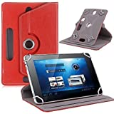 TGK® 360 Degree Rotating Leather Rotary Swivel Stand Case Cover For I Kall N1 8 Inch Tablet (Red)