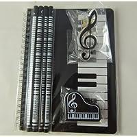 Notebook A5 Nero Tastiere Spiral Bound, Piano