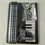 Notebook A5 noir Claviers Spirales, Piano Eraser, Treble Clef clip et 4 Notes de musique Crayons - Musique papeterie orientée Notebook Set