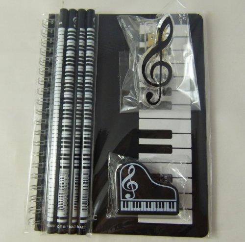 Musik-Themen Briefpapier Notebook Set - A5 Schwarz Keyboards Spirale gebunden Notebook, Klavier Eraser, Violinschlüssel Clip und 4 Musical Notes Bleistifte