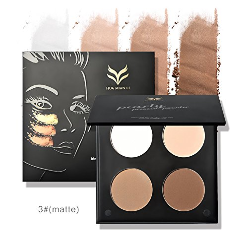 Huamianli 4 Farbe Kompaktpuder Gesicht Kontur Highlighter Foundation Puder Palette Matte Glitzer Lidschatten Highlighting Kontur Kit Contour Make-up Set mit Puderpinsel Molie Highlight Und Kontur-make-up-set