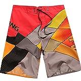 Baymate Herren Badeshorts Multi-Color Surf-Shorts Schnell Trocknend Badehosen Rot 38