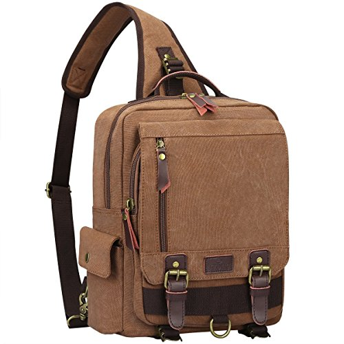 S-ZONE Vintage Canvas Messenger Sling Bag Outdoor Bauchtasche Unisex Umhängetasche