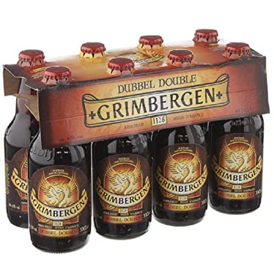 Original belgisches Bier - GRIMBERGEN Double 6,5 % vol. 8 x 33 cl, Abteibier, hohe Gärung, dunkelbraun. Bier für BBQ und Party!!