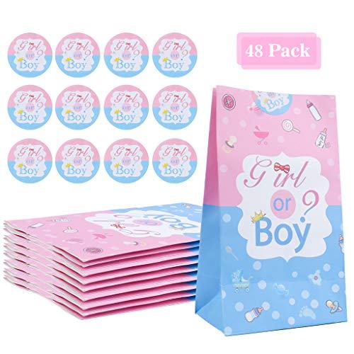 Amycute 24 Stück Baby Shower Party Dekorationen Jungen oder Mädchen Geschenktüten 20 x 11 x 8 cm Kraftpapier Tüten mit 24 Gender Reveal Sticker für Babyparty Geburtstagsfeier Brote Keks verpacken.
