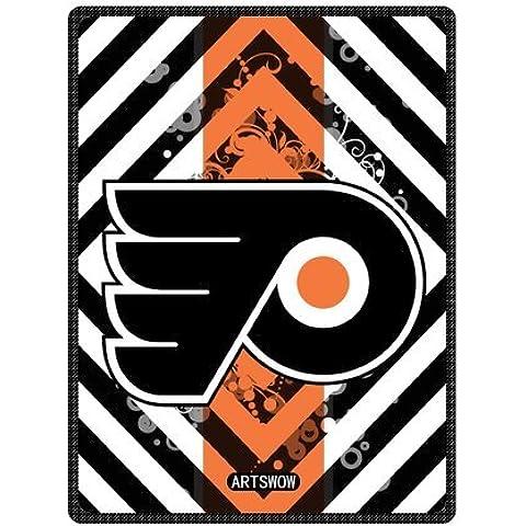 ARTSWOW NHL con Logo dei Philadelphia Flyer-Coperta in pile, per interni ed esterni-Coperta da viaggio, 58 x 80 mm (grande), Pile, Size-3, 40