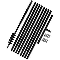 yorten Foret Tarière Bêche et Tarière Manuelle 80mm avec Rallonge Mèche Tarière 9m Acier Noir