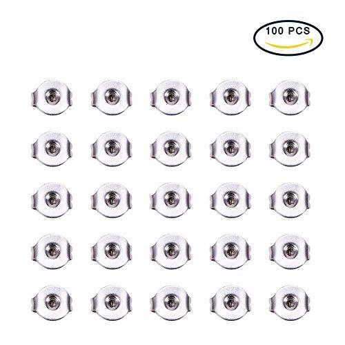 Lot de 100 Poussoirs A Clou d'oreilles en Acier Inoxydable 5x4x2,5mm