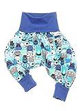 Lilakind Jungen Pumphose Hose Babyhose Jersey Monster- Handmade in Berlin, Blau, 74/80 cm