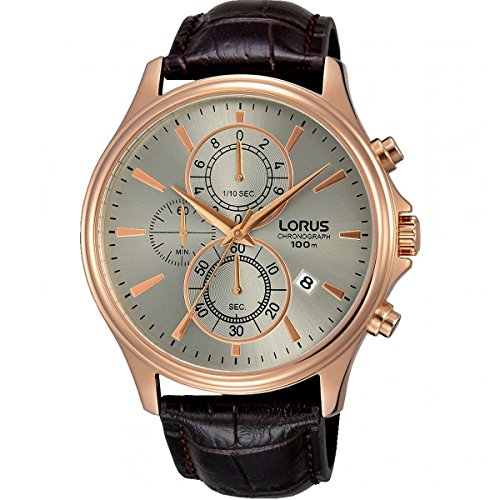 Lorus Mens Chronograph Quartz Watch with Leather Strap RM318DX9
