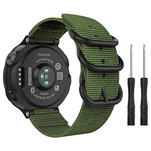 "MoKo für Garmin Forerunner 235 Armband, NATO Nylon Uhrenarmband Ersatzarmband Strap für Garmin Forerunner 235/220/230/620/630/735XT, Armbandlänge 5.51\""-7.87\"" (140mm-200mm) - Armeegrün"