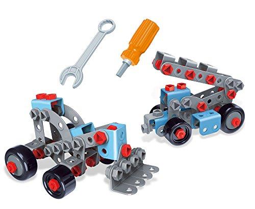 Brigamo 62414 - ⚒ Kran Bagger Bausatz 2in1 Konstruktionsspielzeug Baukasten Set mit Kinderwerkzeug, 120 Teile (Spiel Kran Kostüm)