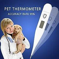 KOBWA - Termómetro Digital para Mascotas, Color Blanco, Lectura rápida, con indicador de Temperatura Corporal Flexible para Perros y Gatos