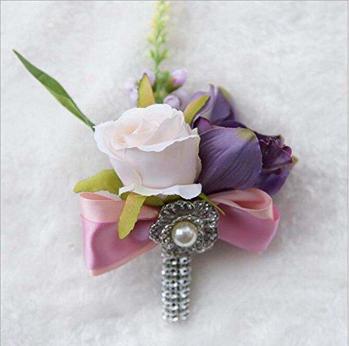Rose poignet Corsage argent brillant Bow strass Bracelet extensible (blanc et rose) ( Color : Blanc )