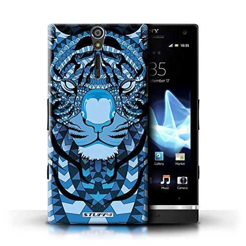 KOBALT® Hülle Case für Sony Xperia S/LT26i | Wolf-Sepia Entwurf | Aztec Tier Muster Kollektion Tiger-Blau