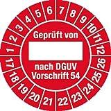 Prüfplakette Geprüft...DGUV Vorschrift 54, 2017 - 2026, Dokumentenfolie, Ø 3 cm, 100 St.