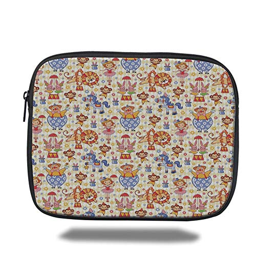 ids,Carnival Circus Theme with Cheerful Mascots Monkey Lion Bunny Acrobat Girl and Clown,Multicolor,Tablet Bag for Ipad air 2/3/4/mini 9.7 inch ()