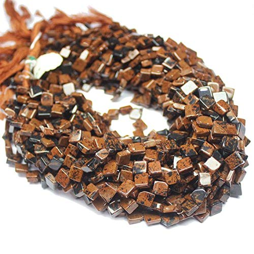 LOVEKUSH 50% Off Gemstone Jewellery 5 Strand Natural Marconi Obsidian Smooth Gemstone Diamond Kite Loose Craft Beads 14