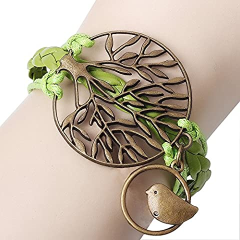 Winter Secret de Vert tressé à la main l'arbre avec un oiseau fait à la main réglable Unisexe Wrap Bracelet de cuir