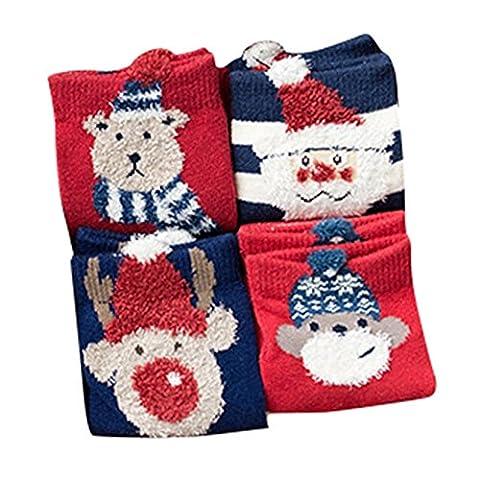 Baby Kinder Weihnachtssocken - Socken Baumwolle Söckchen Warm Weihnachten Junge Mädchen Set (Weihnachten Sankt Bären)