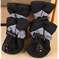 Doggie Style Store Black Waterproof Dog Puppy Pet Rain Snow Boots (Pack of 4) Reflective Non Slip Booties Socks Shoes