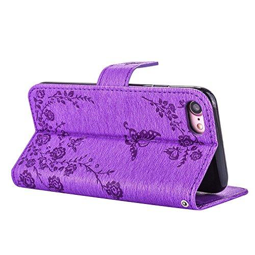 MOONCASE iPhone 7 Étui, Fleur Papillon Imprimer Gaufrage Faux Brillant Diamant Strass Bookstyle Housse en Cuir rabat Case avec Porte-cartes Fentes Portefeuille Béquille Magnétique Fermeture pour iPhon Violet