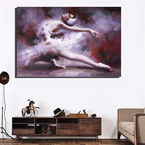 Senza Cornice Poster da Ballerina Stampa HD Elegante Senza Cornice Arte della Ballerina Pittura ad olio30x40cm
