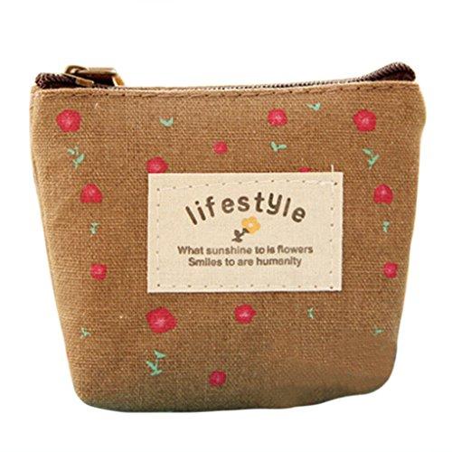 LUFA Casi Mini floreale Tela moneta Tasti sacchetti della carta borsa del cambiamento Portafogli Zip