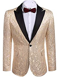 Modfine Men s Casual Slim Fit Floral Party Dress Suit Stylish Dinner Jacket  Wedding Blazer 9472c29179f