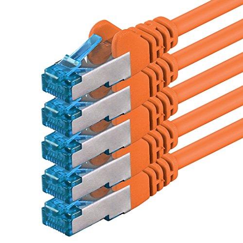 5m - CAT6a - Netzwerkkabel | orange - 5 Stück | CAT 6a |10000Mbit/s| S/FTP PIMF 500 MHz | kompatibel zu CAT 5 CAT 6 CAT 7 DSL Internet Switch Router Modem Patchpannel X-Box Smart TV Handheld 7 Tv