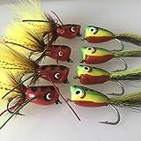 Orange Poppers Set of 5Fishing Bass Pike Fliegen Gr. 4Salzwasser Bass Forelle Barsch Döbel Fly Fisch Pack # 102
