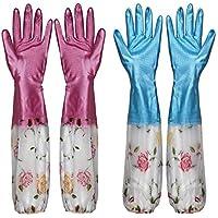 Equipo de proteccion / Plus Mangas de algodón Elástico Apretado Invierno Cálido Lavaplatos Tareas de limpieza Limpieza de goma Plástico Guantes de goma Dos pares ( Color : Pink pair of blue one pair )